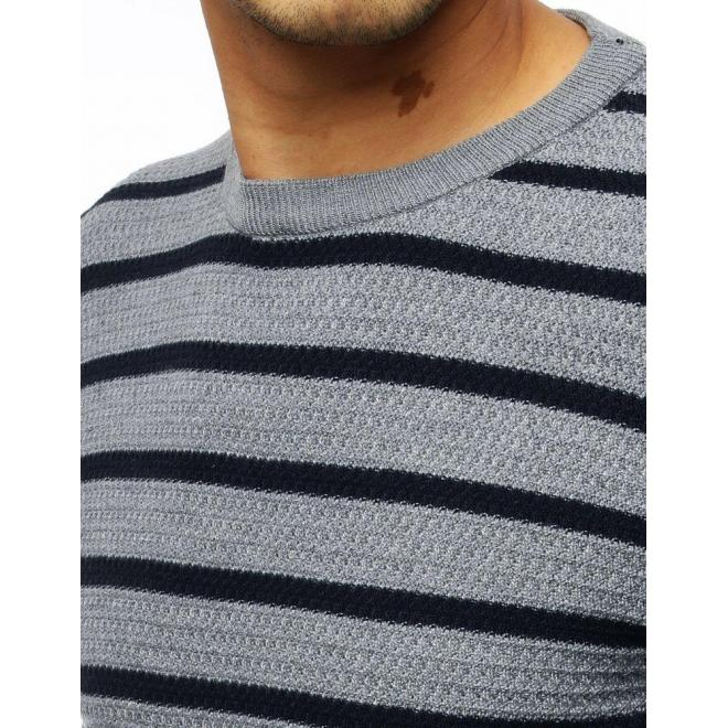 Pánsky pásikavý sveter s okrúhlym výstrihom v sivej farbe