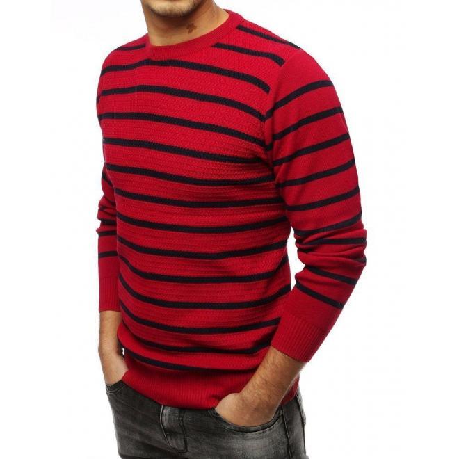 Pásikavý pánsky sveter bordovej farby s okrúhlym výstrihom