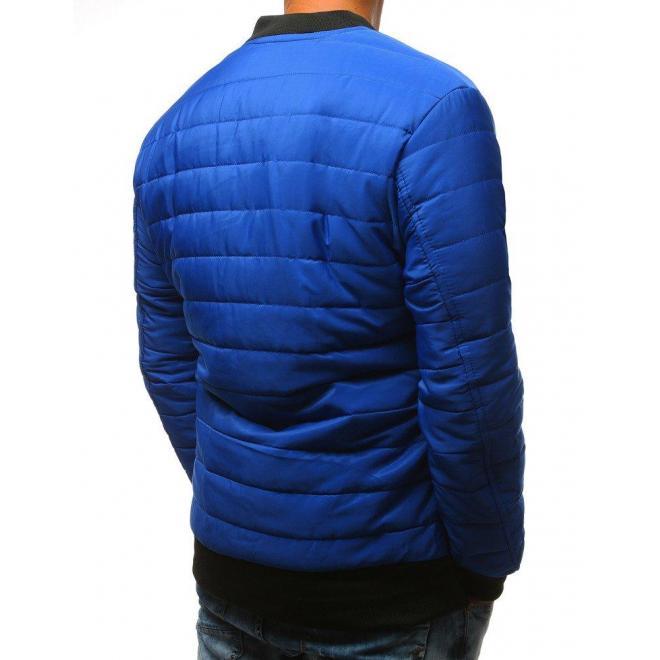 Prešívaná pánska Bomber bunda modrej farby na prechodné obdobie