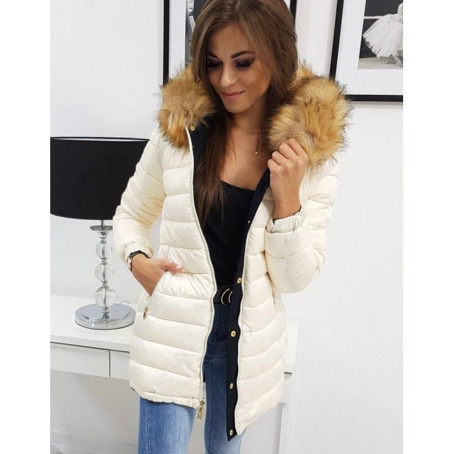 Dámska obojstranná bunda na zimu v tmavomodrej farbe