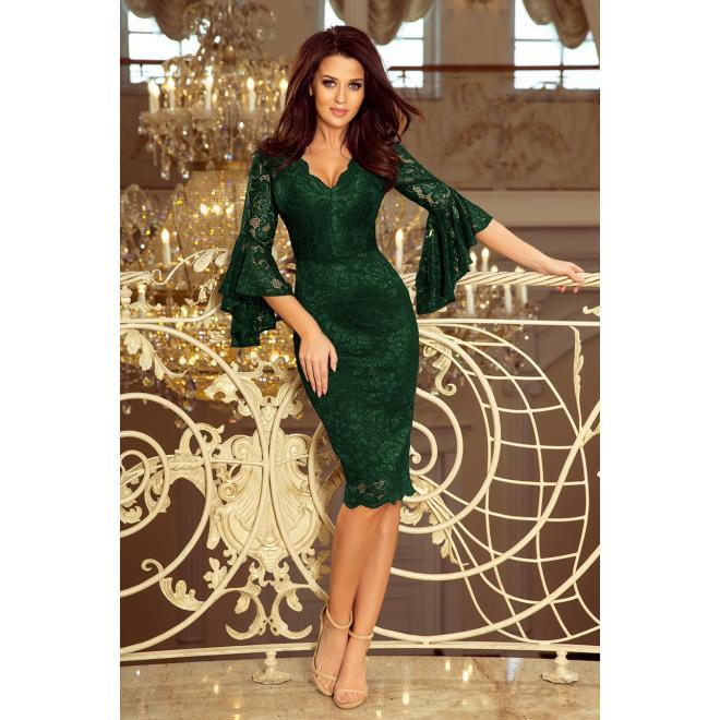 Tmavozelené čipkované šaty s rozšírenými rukávmi pre dámy