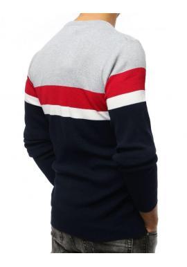 Pánsky módny sveter s kontrastnými pásmi v tmavomodrej farbe
