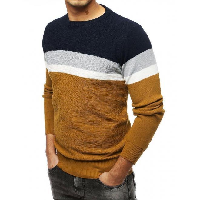 Módny pánsky sveter hnedej farby s kontrastnými pásmi
