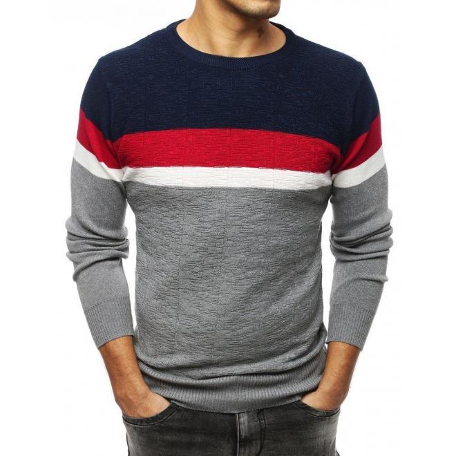 Sivý módny sveter s kontrastnými pásmi pre pánov