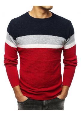 Pánsky módny sveter s kontrastnými pásmi v bordovej farbe
