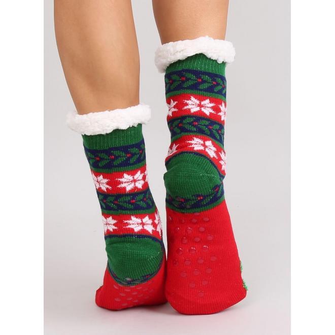 Dámske ponožkové papuče s vianočným motívom v červenej farbe