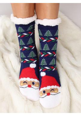 Ponožkové dámske papuče tmavomodrej farby s vianočným motívom