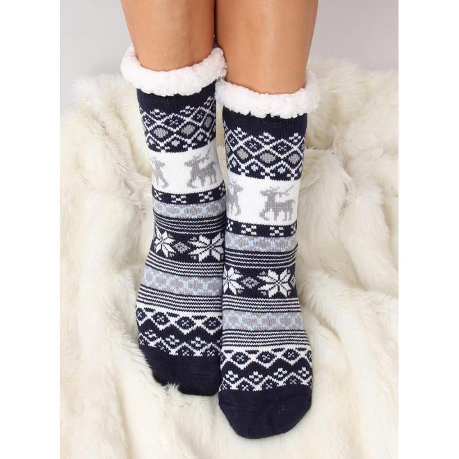 Tmavomodré ponožkové papuče so zimným motívom pre dámy