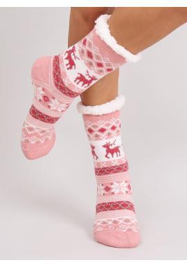 Ponožkové dámske papuče ružovej farby so zimným motívom