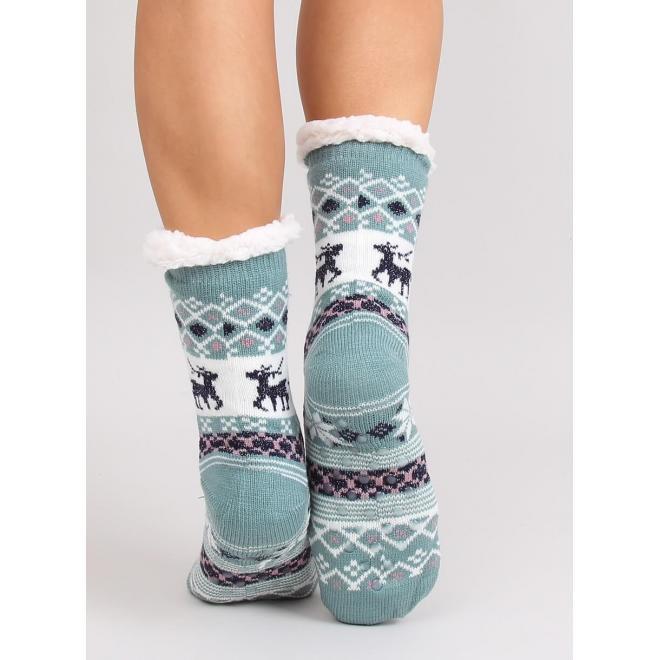 Dámske ponožkové papuče so zimným motívom v tyrkysovej farbe