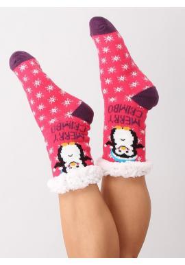 Dámske ponožkové papuče s vianočným motívom v ružovej farbe