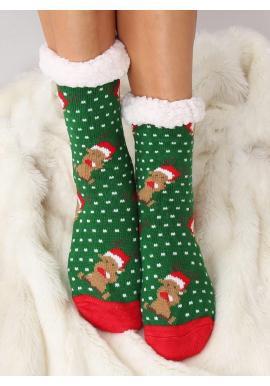 Zelené ponožkové papuče s vianočným motívom pre dámy
