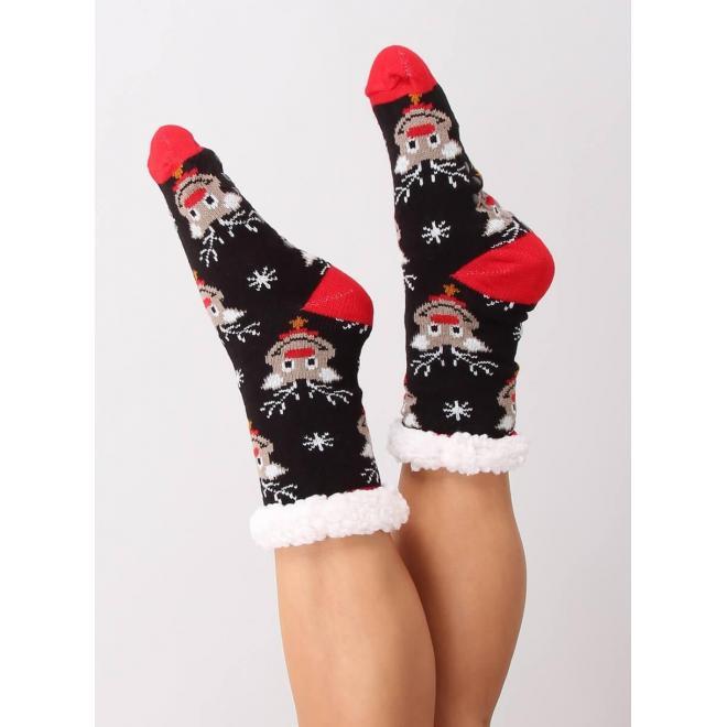 Ponožkové dámske papuče čiernej farby s vianočným motívom