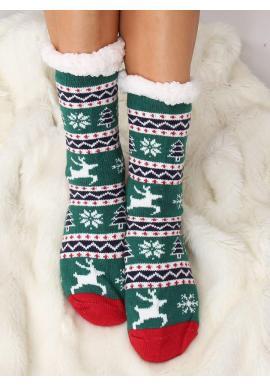 Dámske ponožkové papuče s vianočným motívom v zelenej farbe
