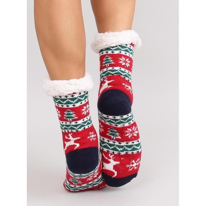 Červené ponožkové papuče s vianočným motívom pre dámy
