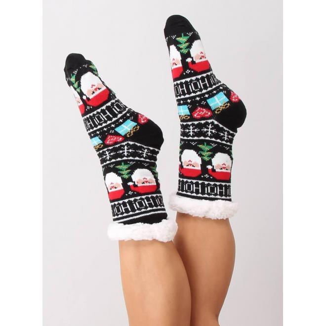 Dámske ponožkové papuče s vianočným motívom v čiernej farbe