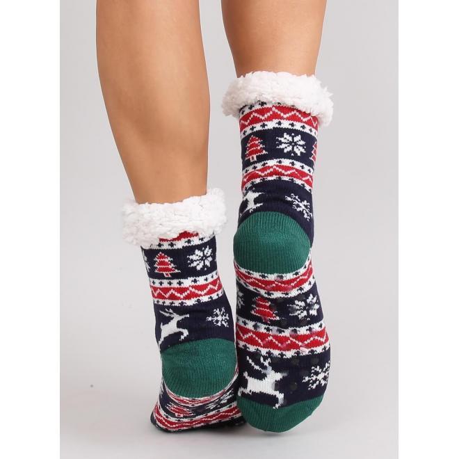 Tmavomodré ponožkové papuče s vianočným motívom pre dámy