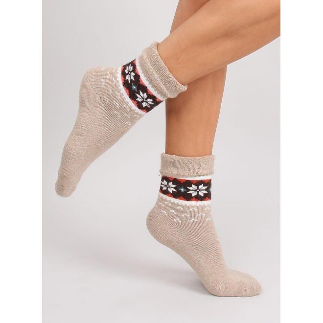 Béžové teplé ponožky so zimným vzorom pre dámy