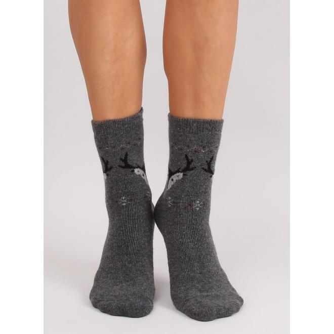Dámske teplé ponožky so sobmi v tmavosivej farbe