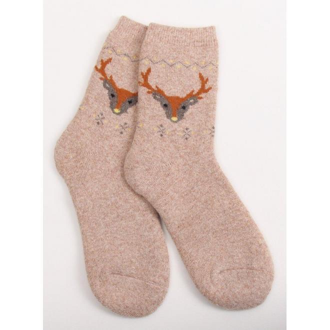 Béžové teplé ponožky so sobmi pre dámy