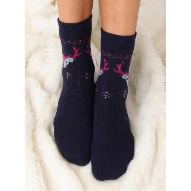 Dámske teplé ponožky so sobmi v tmavomodrej farbe