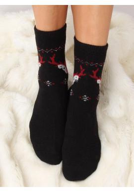 Čierne teplé ponožky so sobmi pre dámy