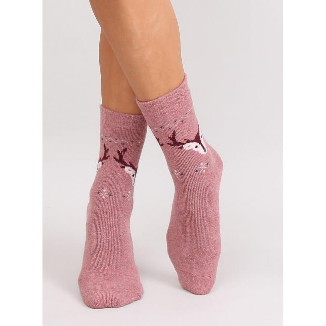 Teplé dámske ponožky ružovej farby so sobmi