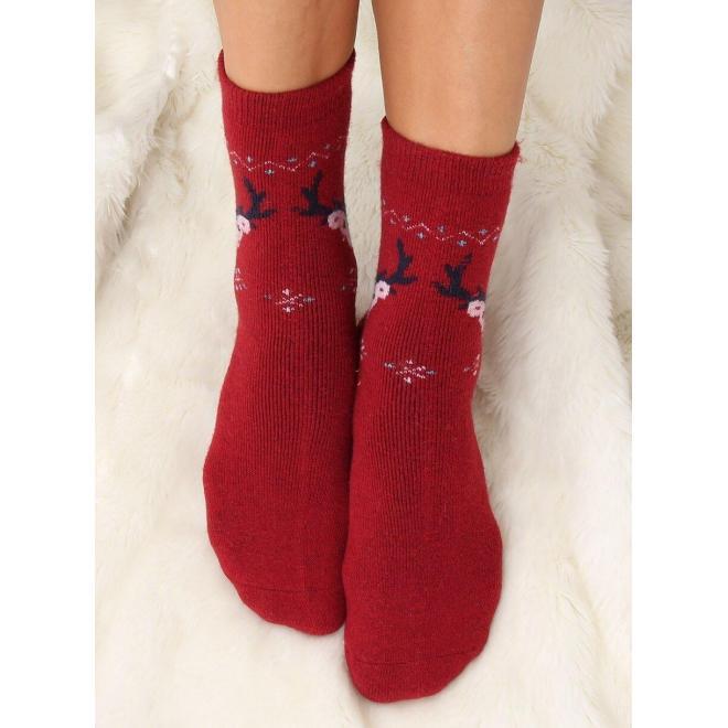 Bordové teplé ponožky so sobmi pre dámy