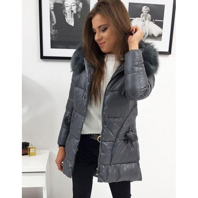 Tmavosivá prešívaná bunda na zimu pre dámy