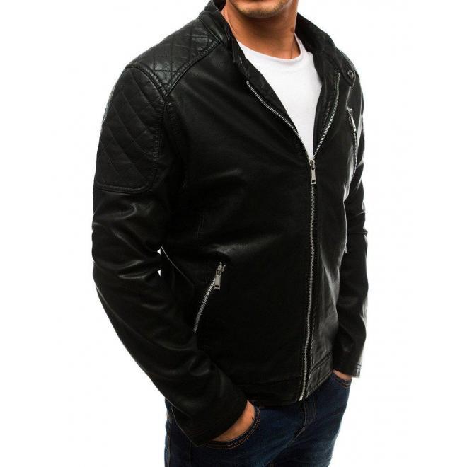 Čierna kožená bunda s prešívanými prvkami pre pánov