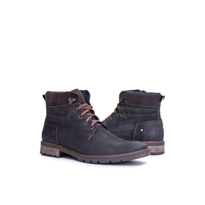 Oteplené kožené topánky pre pánov čiernej farby