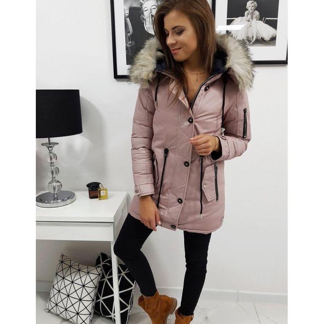 Ružová obojstranná bunda na zimu pre dámy