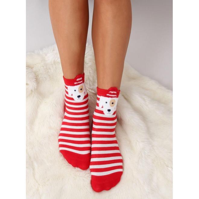 Štýlové dámske ponožky červenej farby so psom
