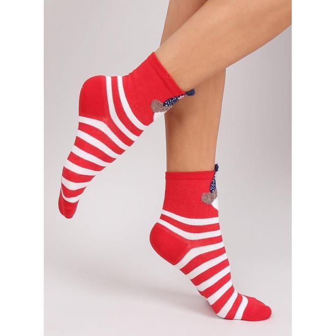 Červené štýlové ponožky s medveďom pre dámy