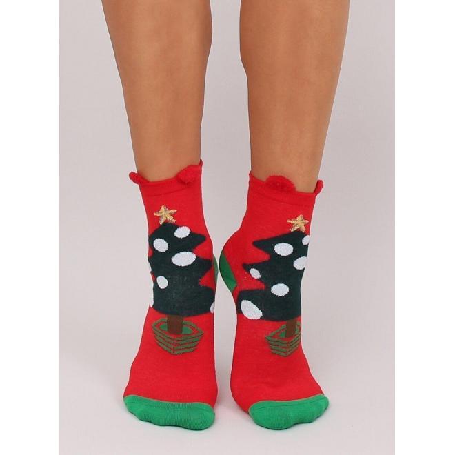 Štýlové dámske ponožky červenej farby so stromčekom