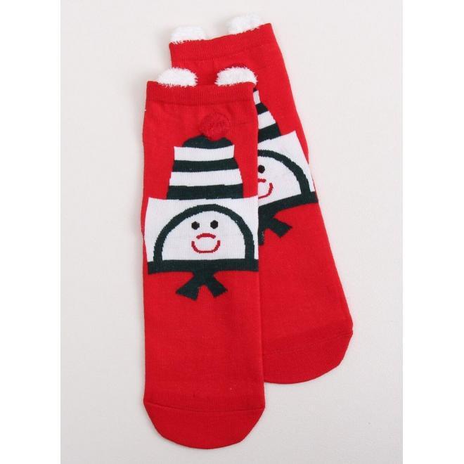 Dámske štýlové ponožky so vzorom v červenej farbe