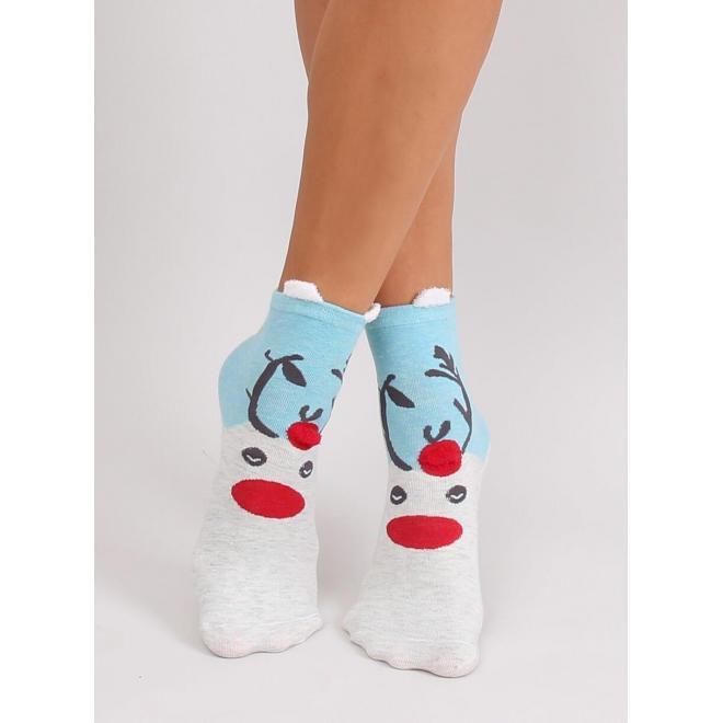 Svetlomodré štýlové ponožky so sobom pre dámy