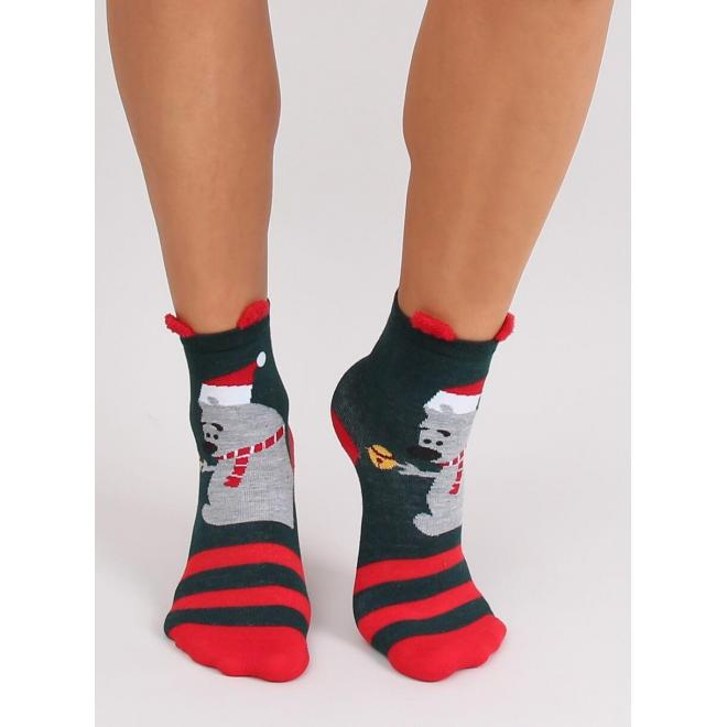 Štýlové dámske ponožky tmavosivej farby so vzorom