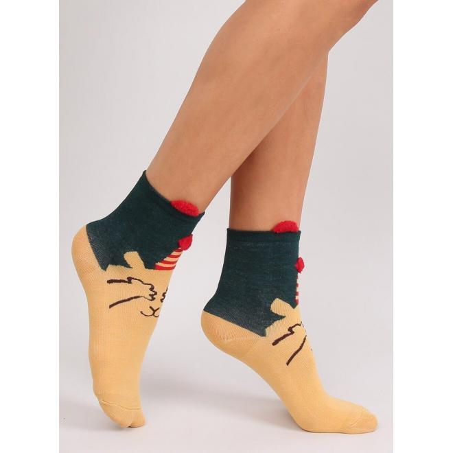 Dámske štýlové ponožky so vzorom v béžovej farbe
