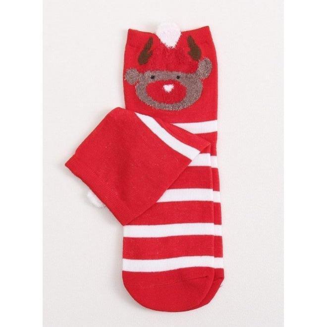 Štýlové dámske ponožky červenej farby so sobom