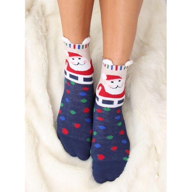 Dámske štýlové ponožky s vianočným motívom v tmavomodrej farbe