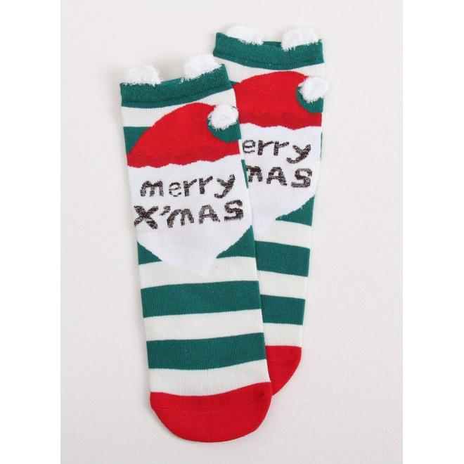 Zelené štýlové ponožky s vianočným motívom pre dámy