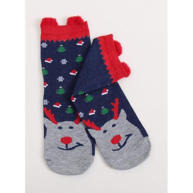 Štýlové dámske ponožky tmavomodrej farby s vianočným motívom
