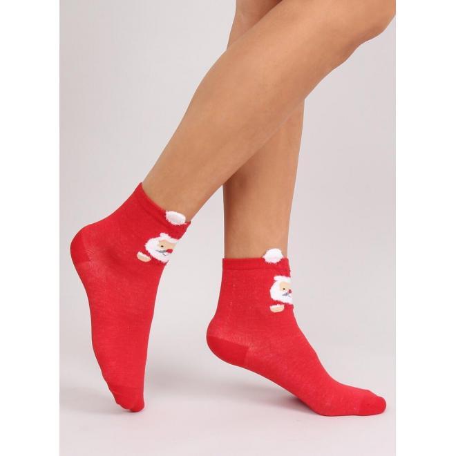 Dámske štýlové ponožky s vianočným motívom v červenej farbe