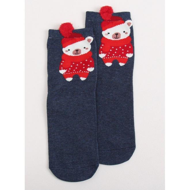 Tmavomodré štýlové ponožky s medveďom pre dámy
