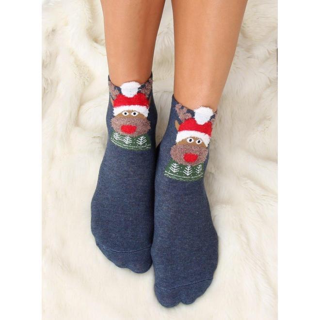 Dámske štýlové ponožky so sobom v tmavomodrej farbe