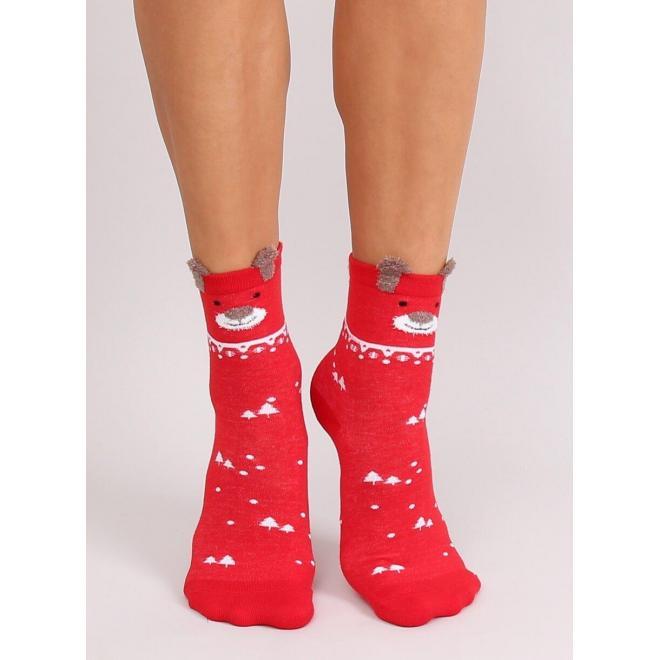 Červené štýlové ponožky s vianočným motívom pre dámy