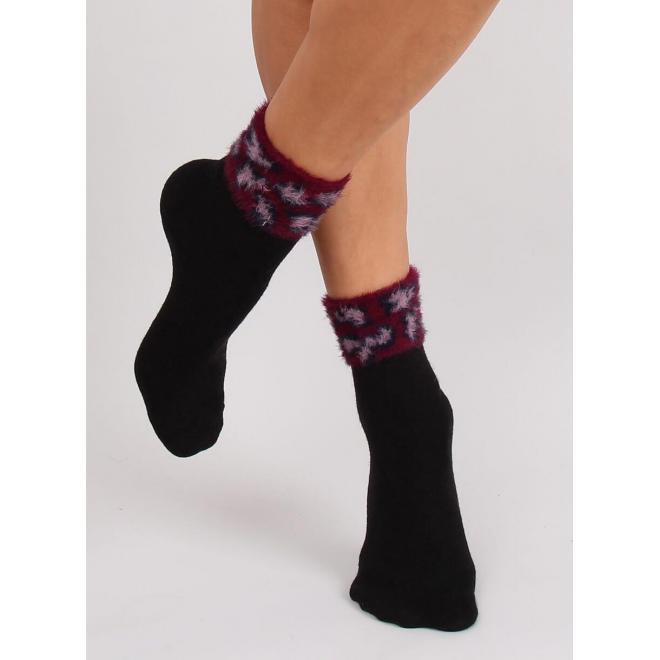 Čierne teplé ponožky s kožušinou pre dámy