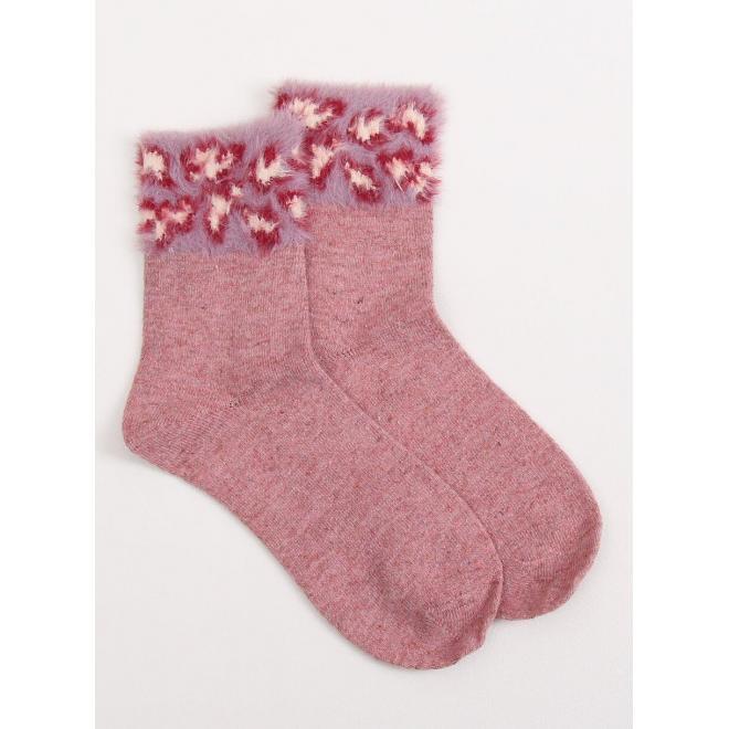 Ružové teplé ponožky s kožušinou pre dámy