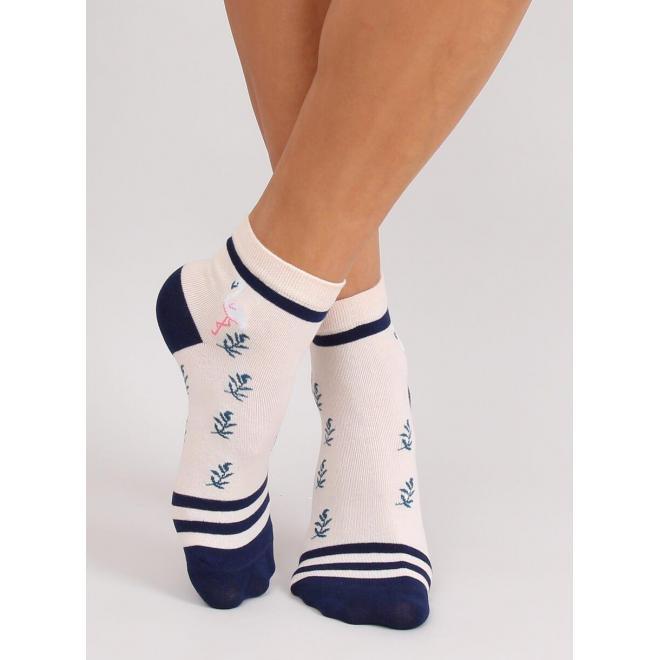 Dámske vzorované ponožky v béžovo-modrej farbe